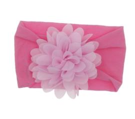 Haarband roze met grote bloem