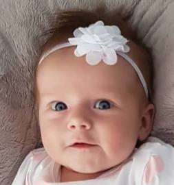 Haarband wit met bloem