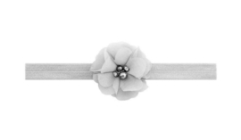 Haarbandje grijs met bloem en strass steentjes