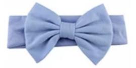 Haarband licht blauw met grote strik 17 cm