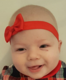 Haarband rood met strikje