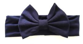 Haarband marine blauw grote strik 17 cm