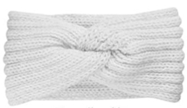 Winter haarband wit met twist