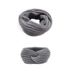 Colsjaal grijs met haarband