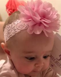 Haarband roze kant