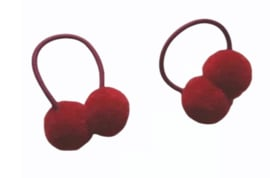 Haar elastiek met pompon bordeau rood