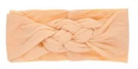 Haarband zalmroze gevlochten