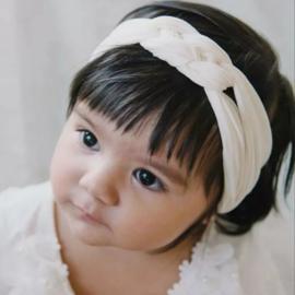 Haarband gevlochten wit