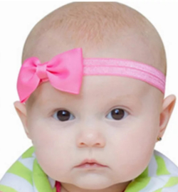 Haarband zuurstok roze met strikje