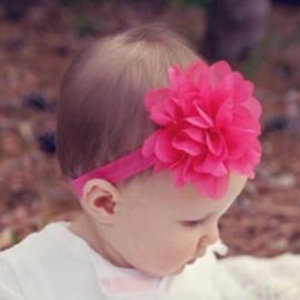 Haarband fuchsia met bloem