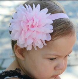 Haarband met grote roze bloem