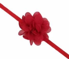 Haarband rood met bloem