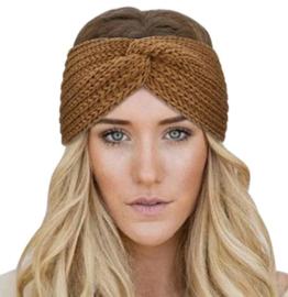 Haarband met twist donker bruin