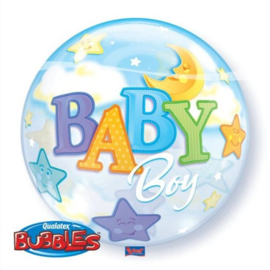 Folieballon Bubble Boy Moon & Stars - 56 cm