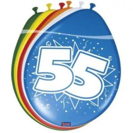 Latex Ballonnen 55 jaar ster  8 Stuks lucht