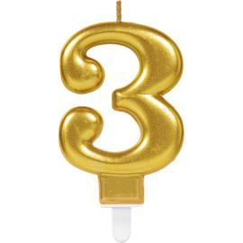 Verjaardag Kaars 3 jaar- Goud 7.5 cm