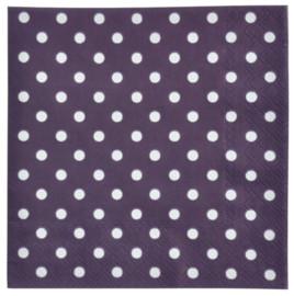 20 stuks paars papieren servetten met witte stippen