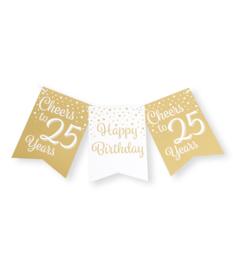 Party flag banner gold/white - 25