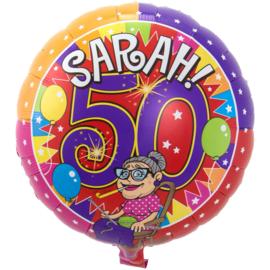 Sarah 50 jaar Knalfeest folieballon - 43 cm