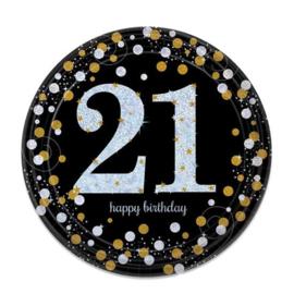 Glitterfeest 21 Jaar Papieren Bordjes 23 cm