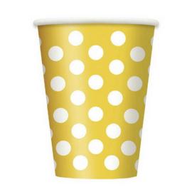 Bekertjes geel met stippen - 6 stuks