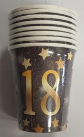 18 Jaar Party Gold Bekers - 8 stuks