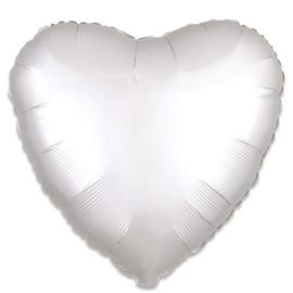 Folieballon hart satin wit (43cm)