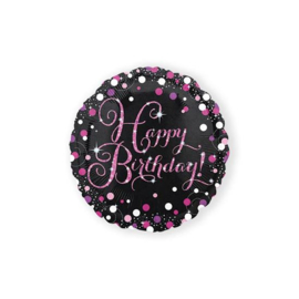 Folieballon Happy Birthday Sparkling Pink - 45 cm