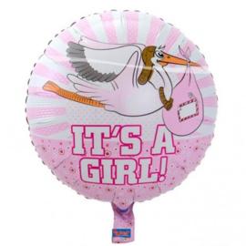Folieballon Geboorte Meisje Its A Girl! Baby Ooievaar 45 cm
