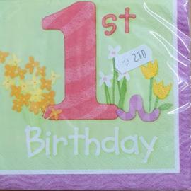 Servetten 1e Birthday girl 16 stuks