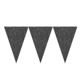 Vlaggenlijn glitter zwart (6m)