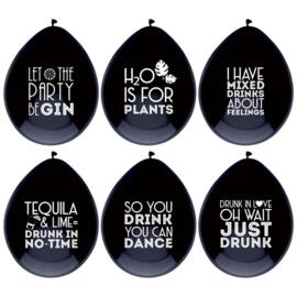 Ballonnen Drink Quotes - 6 stuks
