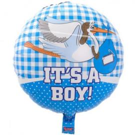 Folieballon geboorte Jongen It's a Boy Ooievaar 45 cm