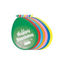 Ballonnen 'Happy Birthday' (Ø30cm, 8st)
