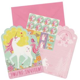 Unicorn Eenhoorn Uitnodiging Kaarten - 8 stuks