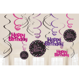 Glitterfeest Happy Birthday Roze Hangende Swirls - 45 cm
