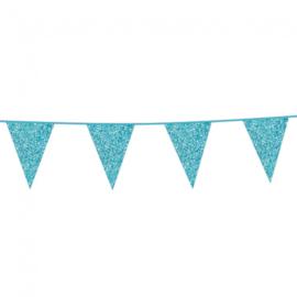 Vlaggenlijn glitter lichtblauw (6m)