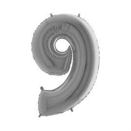Cijfer 9 Zilver 100 cm