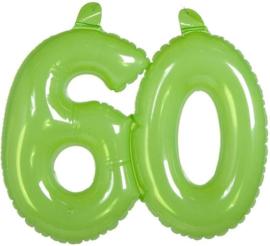 Opblaascijfer 60 Transparant  Groen 35cm Hoog