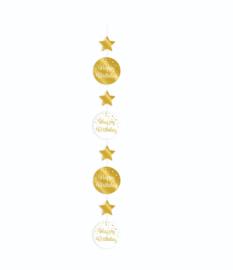 Hanging decoration gold/white - Happy Birthday