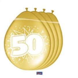 50 Jaar Gouden Ballonnen  - 8 stuks