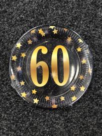 60 Jaar Party Gold Borden - 8 stuks