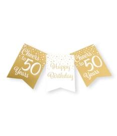 Party flag banner gold/white - 50