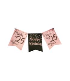 Party flag banner rosé/black - 25