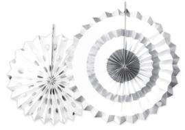 Papieren Waaiers Sparkling Silver 2st