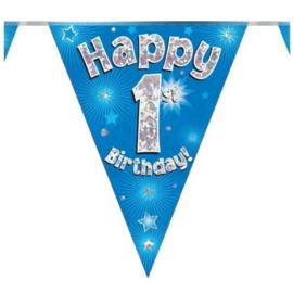 Vlaggenlijn Happy 1st Birthday Blauw