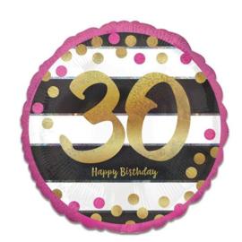 Folieballon 30 Jaar Roze en Goud - 45 cm