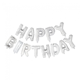 Folieballonnen Set 'Happy Birthday' Zilver