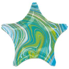 Folieballon Marblez ster blauwgroen (43cm)