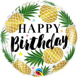 Folieballon Happy Birthday Pineapple - 45 cm
